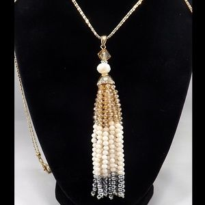 Jewelry - Crystal Tassel Long Necklace Silver & Gold Tones